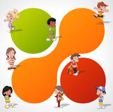 Cartoon kids playing. Colorful template for advertising brochure with a group of cute happy cartoon kids playing Royalty Free Stock Images