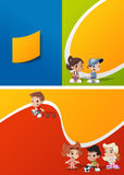 Cartoon kids playing. Colorful template for advertising brochure with a group of cute happy cartoon kids playing Stock Photography