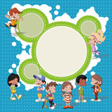 Cartoon kids playing. Colorful template for advertising brochure with a group of cute happy cartoon kids playing Stock Photo