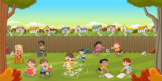 Cartoon kids playing. Backyard of a colorful house in suburb neighborhood with cartoon kids playing. Green park landscape with grass, trees, and houses stock illustration