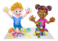 Cartoon Kids Playing Stock Images