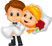 Cartoon Kids Playing Bride and Groom Royalty Free Stock Images