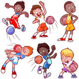Cartoon kids playing dodgeball. Royalty Free Stock Images
