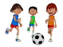 Cartoon kids playing football Royalty Free Stock Photo