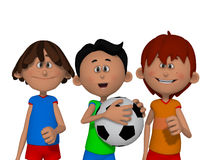Cartoon kids playing football Stock Image