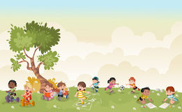 Cartoon kids playing. Green grass landscape with cute cartoon kids playing. Sports and recreation Stock Photo