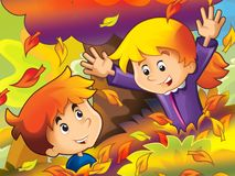 Cartoon kids playing in park - autumn Royalty Free Stock Images
