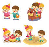 Cartoon kids playing set Royalty Free Stock Images