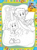 Cartoon kids playing on the slide - illustration for the children Stock Photo