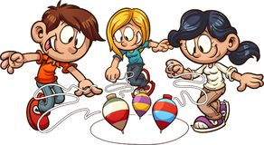 Cartoon kids playing spinning top. Vector clip art illustration with simple gradients. Some elements on separate layers vector illustration