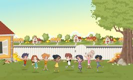 Cartoon kids playing in suburb neighborhood. Green park landscape with grass, trees, and houses vector illustration