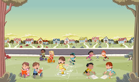 Cartoon kids playing Stock Photo