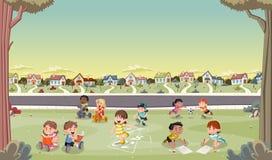 Cartoon kids playing Stock Photo
