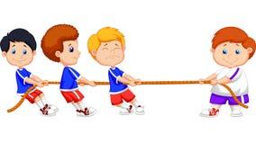 Cartoon Kids playing tug of war stock illustration