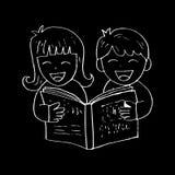 Cartoon kids reading book. With black background Stock Photos