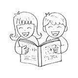 Cartoon kids reading book. With white background Stock Image