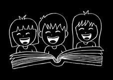 Cartoon kids reading book. Hand drawing illustration Royalty Free Stock Photos
