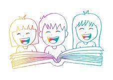Cartoon kids reading book. Hand drawing illustration Stock Image