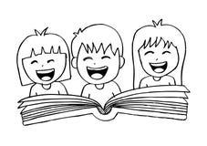 Cartoon kids reading book. Hand drawing illustration Royalty Free Stock Image