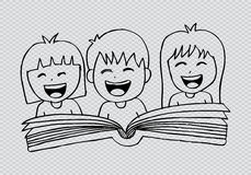 Cartoon kids reading book. Hand drawing illustration Stock Photo