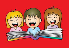 Cartoon kids reading book. Hand drawing illustration Royalty Free Stock Photography
