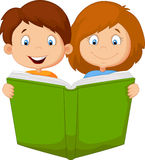 Cartoon kids reading book Stock Photos