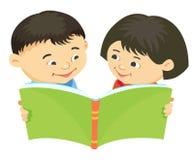 Cartoon kids reading book vector Asiatic. Cartoon kids reading book boy girl isolated vector illustration asian, Asiatic Stock Image
