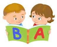 Cartoon kids reading book vector. Cartoon kids reading book boy girl  vector illustration european Royalty Free Stock Image