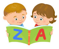 Cartoon kids reading book vector. Cartoon kids reading book boy girl isolated vector illustration european Stock Photography