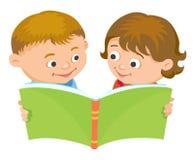 Cartoon kids reading book vector. Cartoon kids reading book boy girl isolated vector illustration european Royalty Free Stock Photo