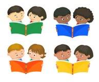 Cartoon kids reading book vector. Cartoon kids reading book boy girl isolated vector illustration european Stock Photo