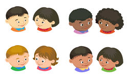 Cartoon kids reading book vector. Cartoon kids icon boy girl icon head in pair  vector illustration european Royalty Free Stock Photos