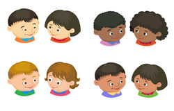 Cartoon kids reading book vector. Cartoon kids icon boy girl icon head in pair isolated vector illustration european Royalty Free Stock Images
