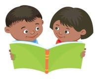 Cartoon kids reading book vector Mexican. Cartoon kids reading book boy girl isolated vector illustration Mexican Stock Image