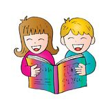 Cartoon kids reading book. With white background Royalty Free Stock Photo
