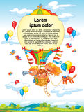 Cartoon kids riding hot air balloon. Cheerful travel to a hot air balloon. Colorful template for advertising brochure. Ready for your message. Lorem ipsum. Funny Royalty Free Stock Images