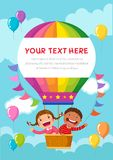 Cartoon kids riding a hot air balloon with text space stock illustration