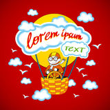 Cartoon kids riding a hot air balloon. Vector clip art illustration Stock Photo