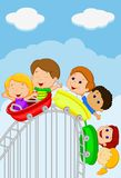 Cartoon kids riding roller coaster Stock Image