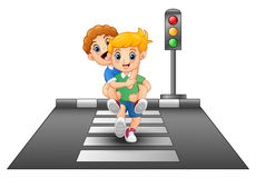 Cartoon kids running on crossing the street Stock Image
