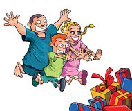 Cartoon kids running to their Christmas gifts royalty free illustration