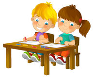 Cartoon kids in school desk - isolated Royalty Free Stock Photos