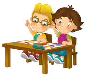 Cartoon kids in school desk - isolated Stock Images