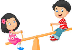 Cartoon Kids see saw Royalty Free Stock Image