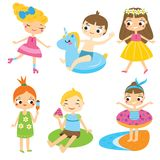 Cartoon kids set. Children having summer holidays fun and outdoor activity. Boys and girls enjoy seasonal vacation Royalty Free Stock Images