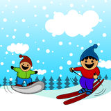 Cartoon kids skiing Stock Photos