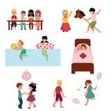Cartoon kids spending vacation in summer camp. Set of kids, boys and girl spending vacation in summer camp - eating, sleeping, playing, swimming, dancing stock illustration