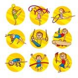 Cartoon kids Sport set Vector Clip Art Royalty Free Stock Photos