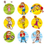 Cartoon kids Sport set Vector Clip Art Stock Image