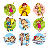 Cartoon kids Sport set Vector Clip Art Royalty Free Stock Images